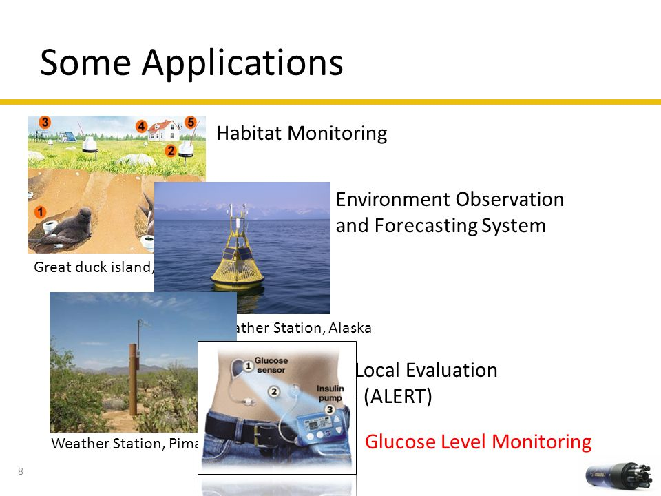 Some Applications Habitat Monitoring Environment Observation