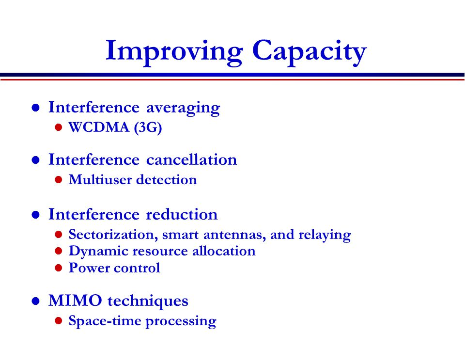 Improving Capacity Interference averaging Interference cancellation