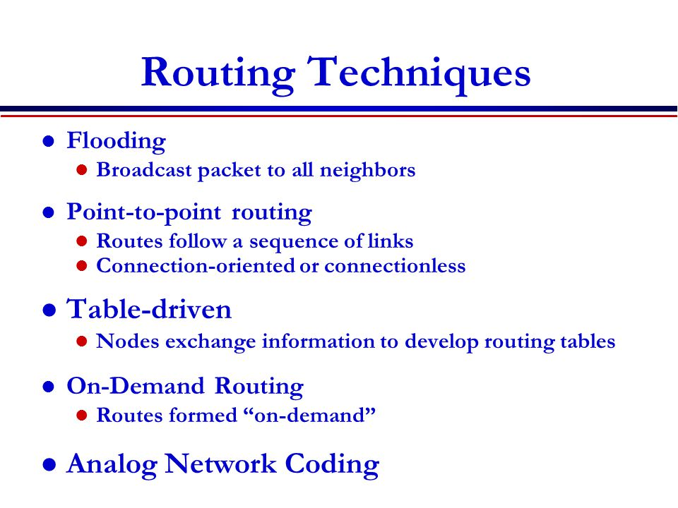 Routing Techniques Table-driven Analog Network Coding Flooding
