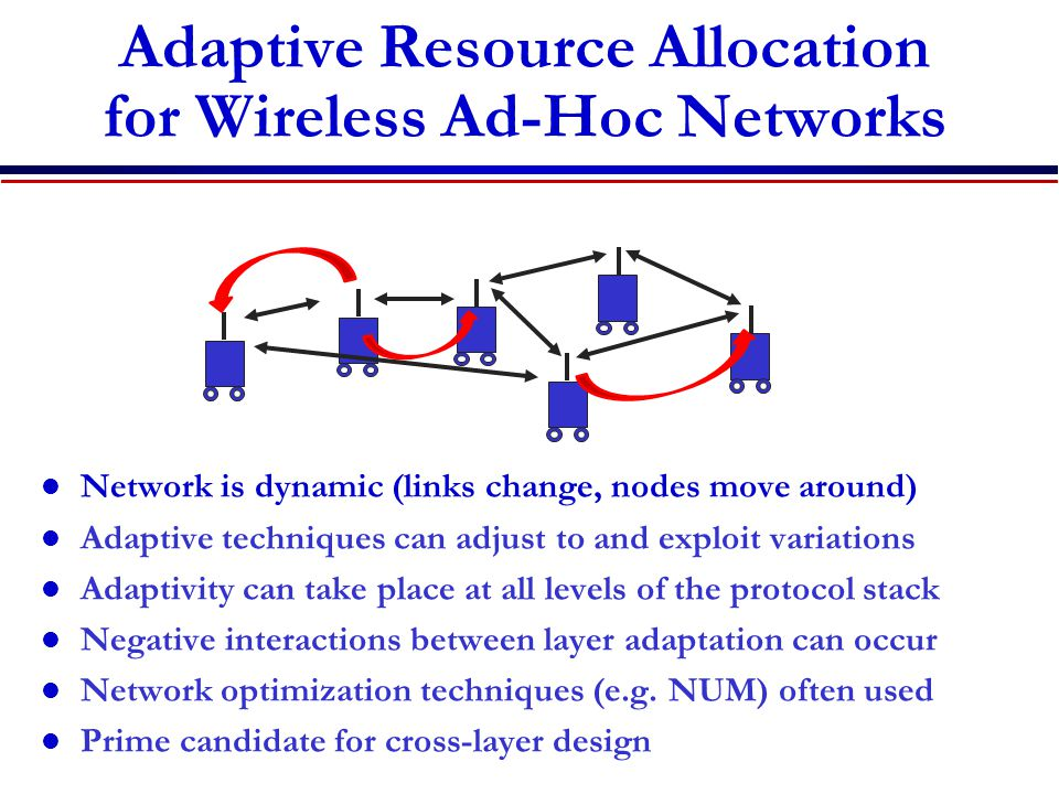 Adaptive Resource Allocation for Wireless Ad-Hoc Networks