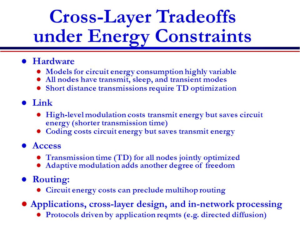 Cross-Layer Tradeoffs under Energy Constraints