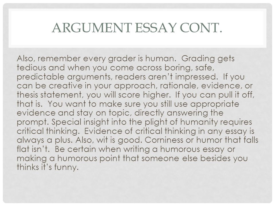 argumentation readings essay