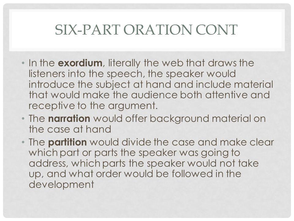 Six-Part Oration Cont
