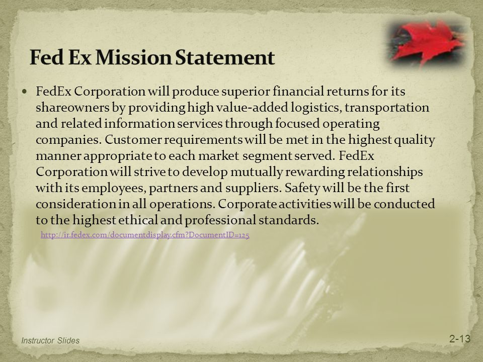Fed Ex Mission Statement