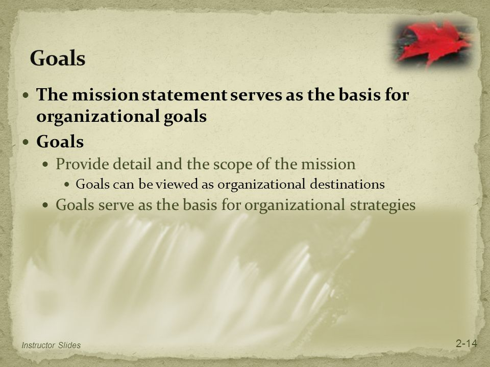 Goals The mission statement serves as the basis for organizational goals. Goals. Provide detail and the scope of the mission.