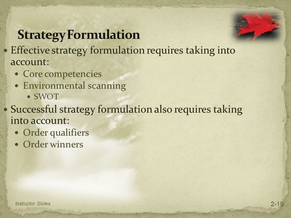 Strategy Formulation Effective strategy formulation requires taking into account: Core competencies.