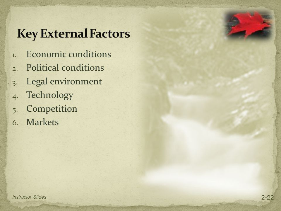 Key External Factors Economic conditions Political conditions