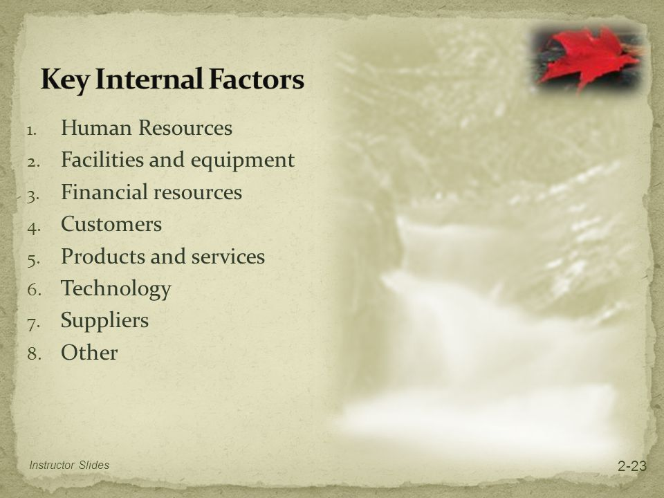 Key Internal Factors Human Resources Facilities and equipment