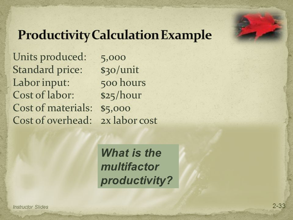 Productivity Calculation Example