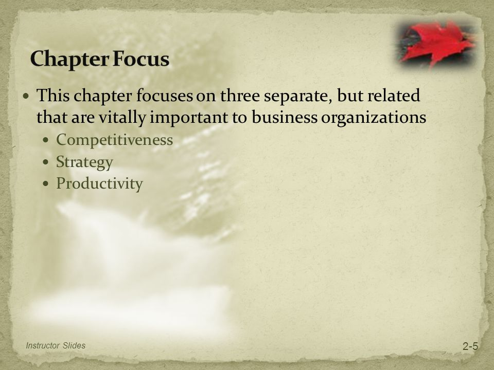 Chapter Focus This chapter focuses on three separate, but related that are vitally important to business organizations.