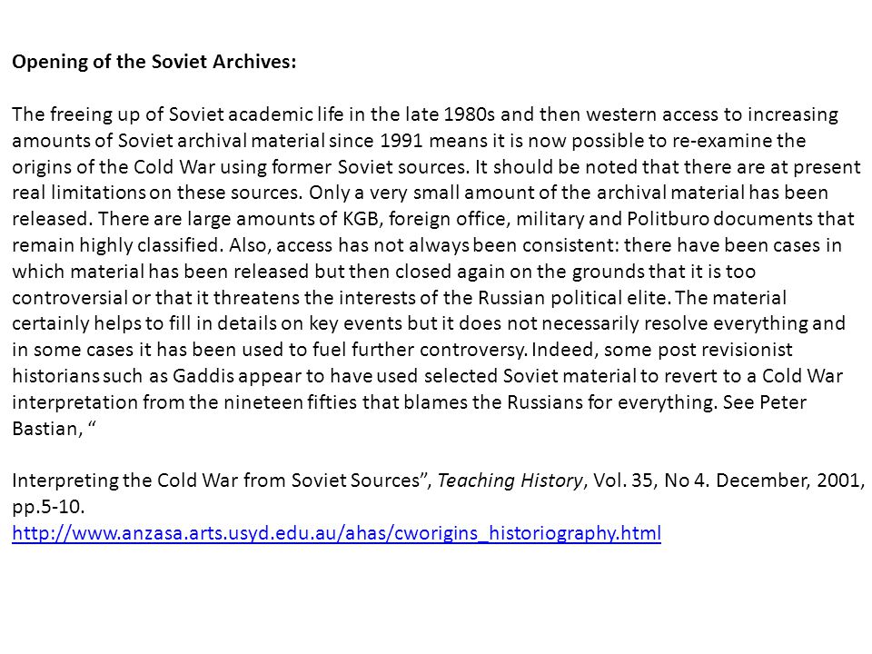 Opening of the Soviet Archives: