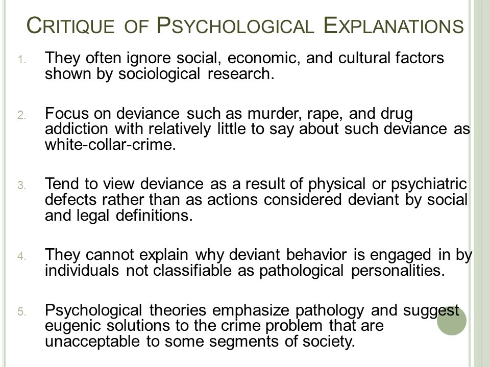 Critique of Psychological Explanations