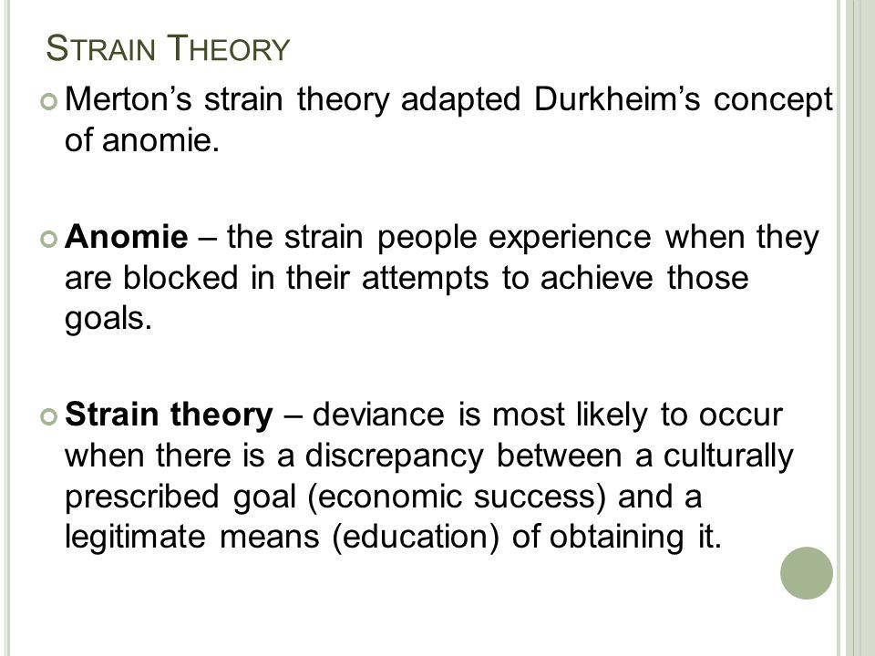 Strain Theory Merton's strain theory adapted Durkheim's concept of anomie.