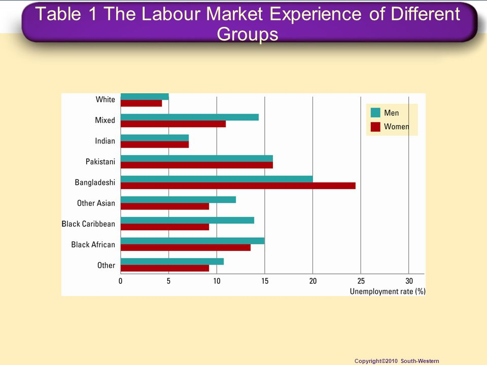 Table 1 The Labour Market Experience of Different Groups