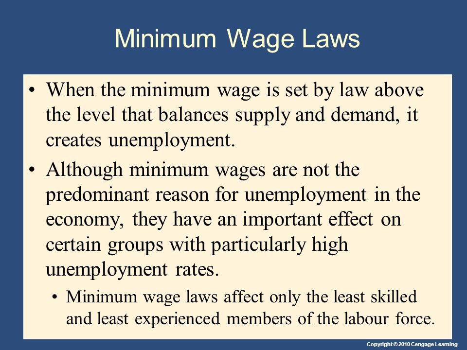 Minimum Wage Laws When the minimum wage is set by law above the level that balances supply and demand, it creates unemployment.