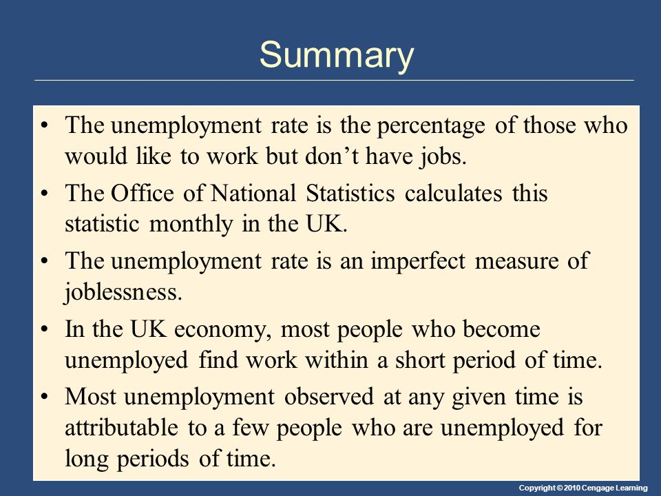 Summary The unemployment rate is the percentage of those who would like to work but don't have jobs.