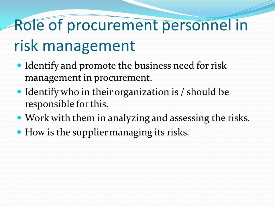 Role of procurement personnel in risk management