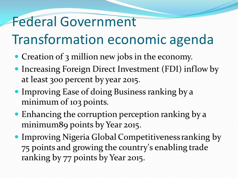 Federal Government Transformation economic agenda