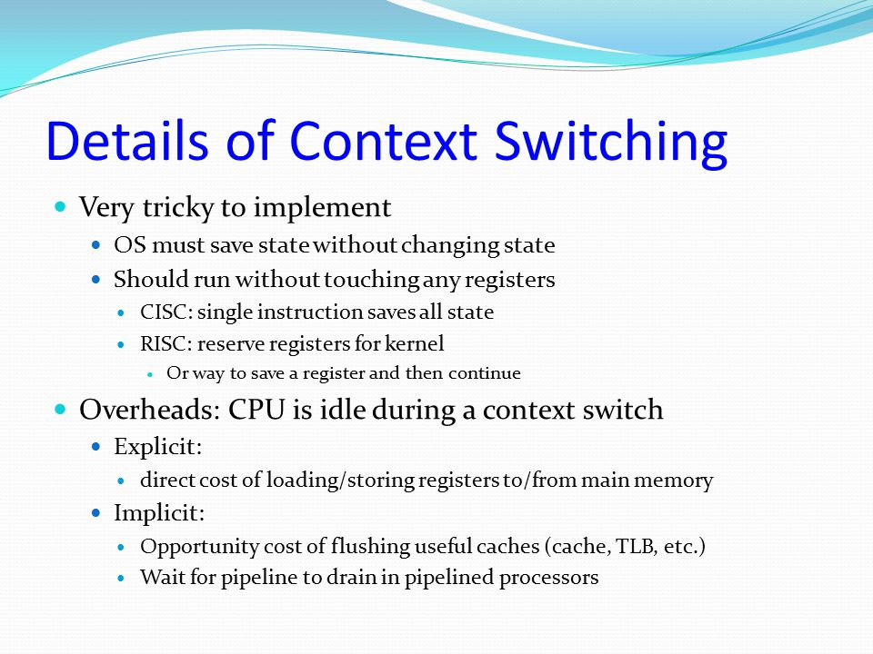 Details of Context Switching