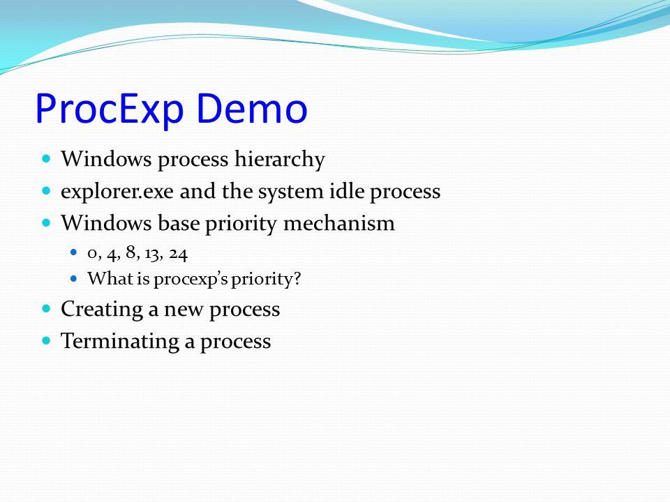 ProcExp Demo Windows process hierarchy