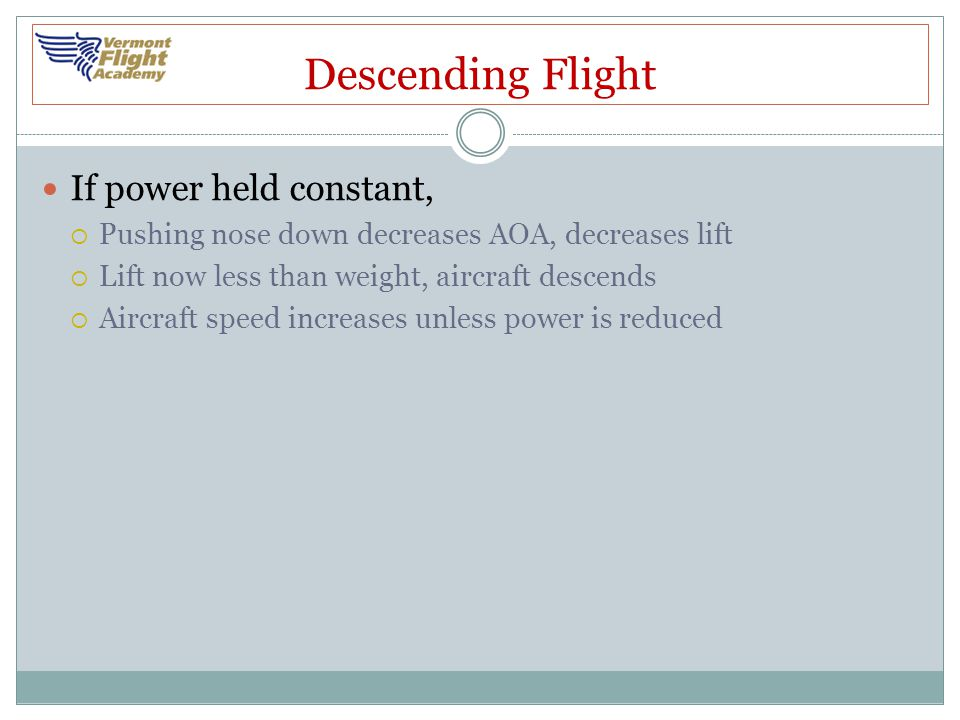 Descending Flight If power held constant,