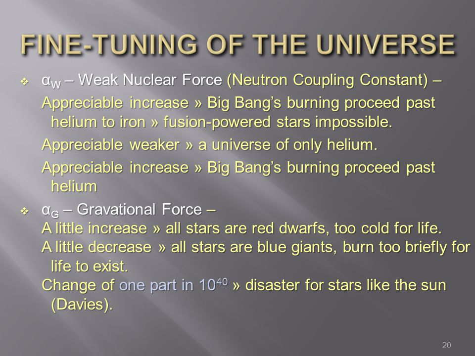 FINE-TUNING OF THE UNIVERSE