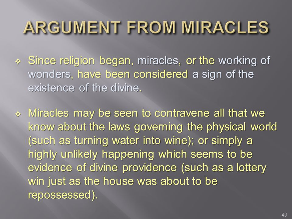 ARGUMENT FROM MIRACLES