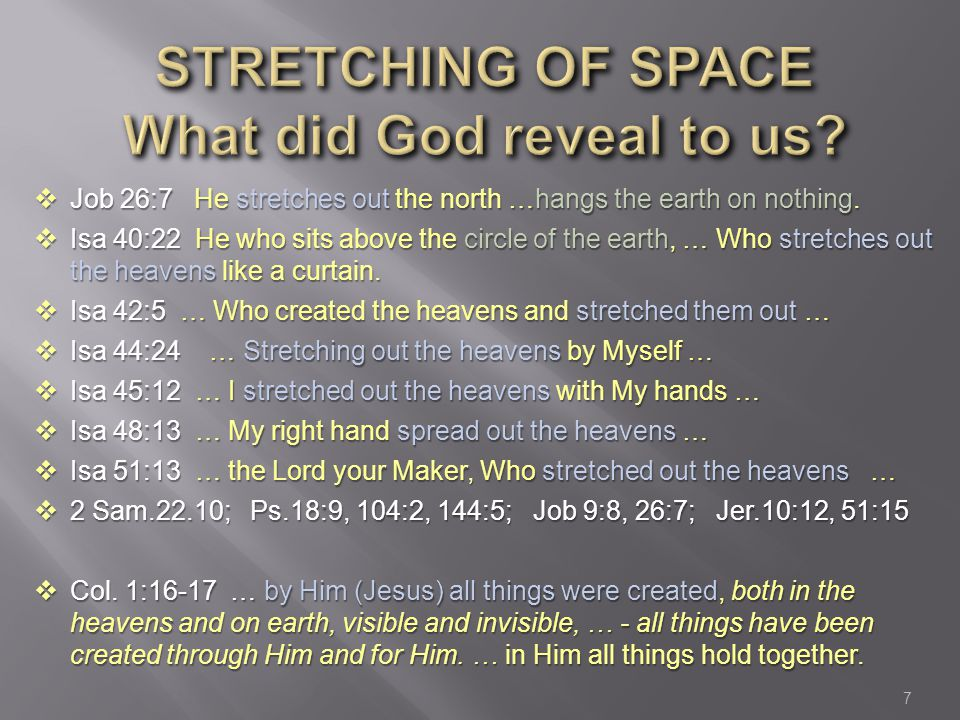 Stretching of Space What did God reveal to us
