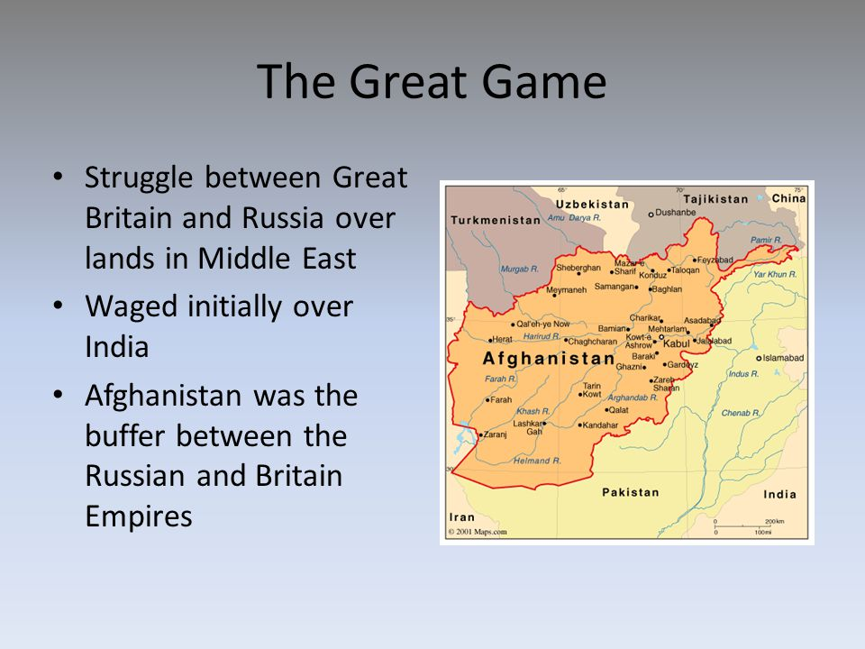 The Great Game Struggle between Great Britain and Russia over lands in Middle East. Waged initially over India.