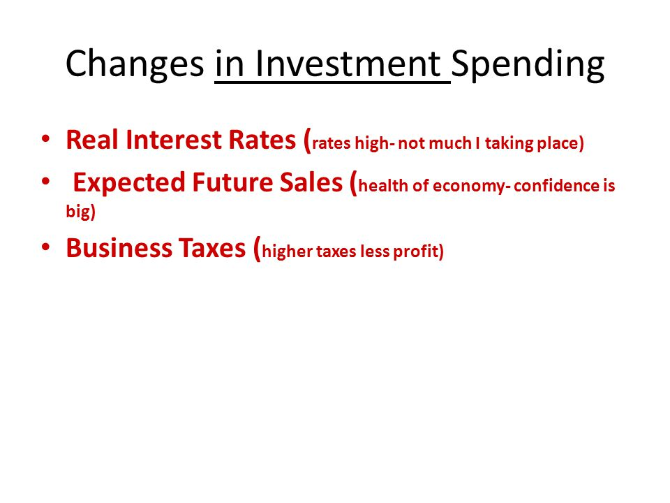 Changes in Investment Spending