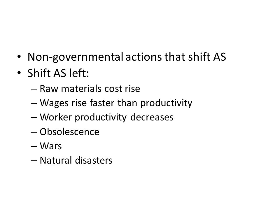 Non-governmental actions that shift AS Shift AS left: