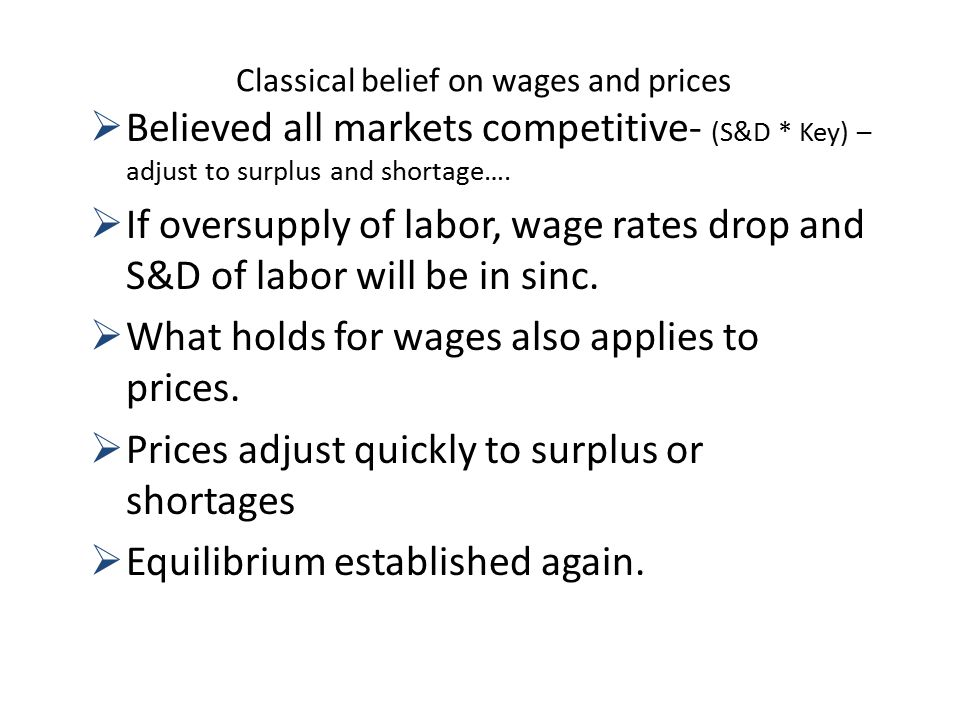 Classical belief on wages and prices