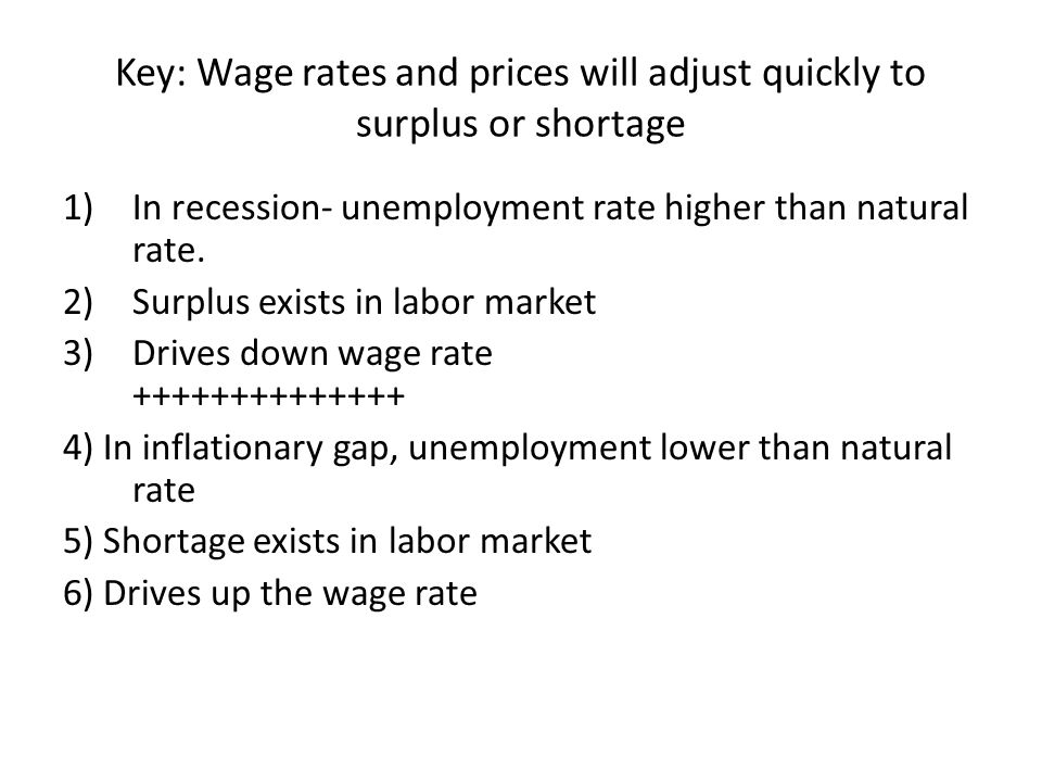 Key: Wage rates and prices will adjust quickly to surplus or shortage