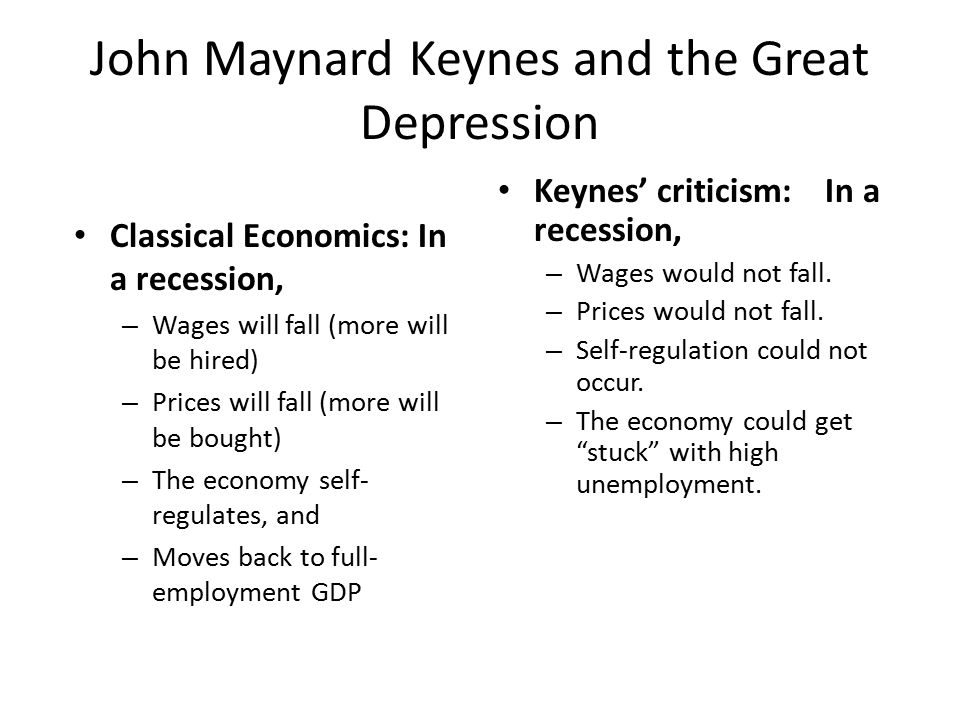 John Maynard Keynes and the Great Depression