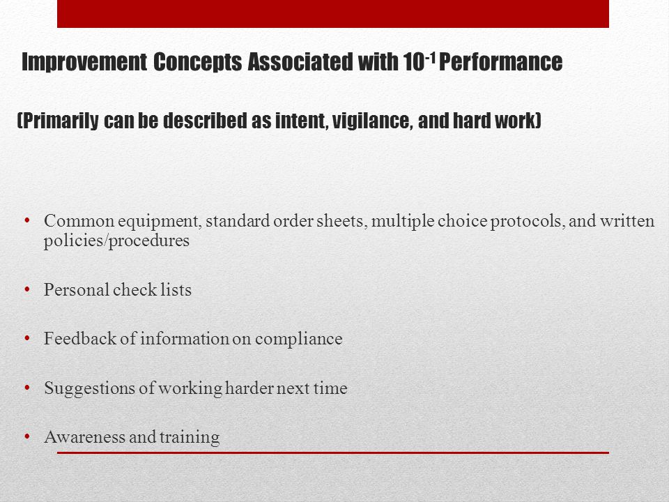Improvement Concepts Associated with 10-1 Performance (Primarily can be described as intent, vigilance, and hard work)