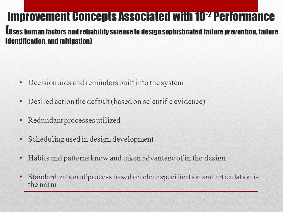 Improvement Concepts Associated with 10-2 Performance (Uses human factors and reliability science to design sophisticated failure prevention, failure identification, and mitigation)