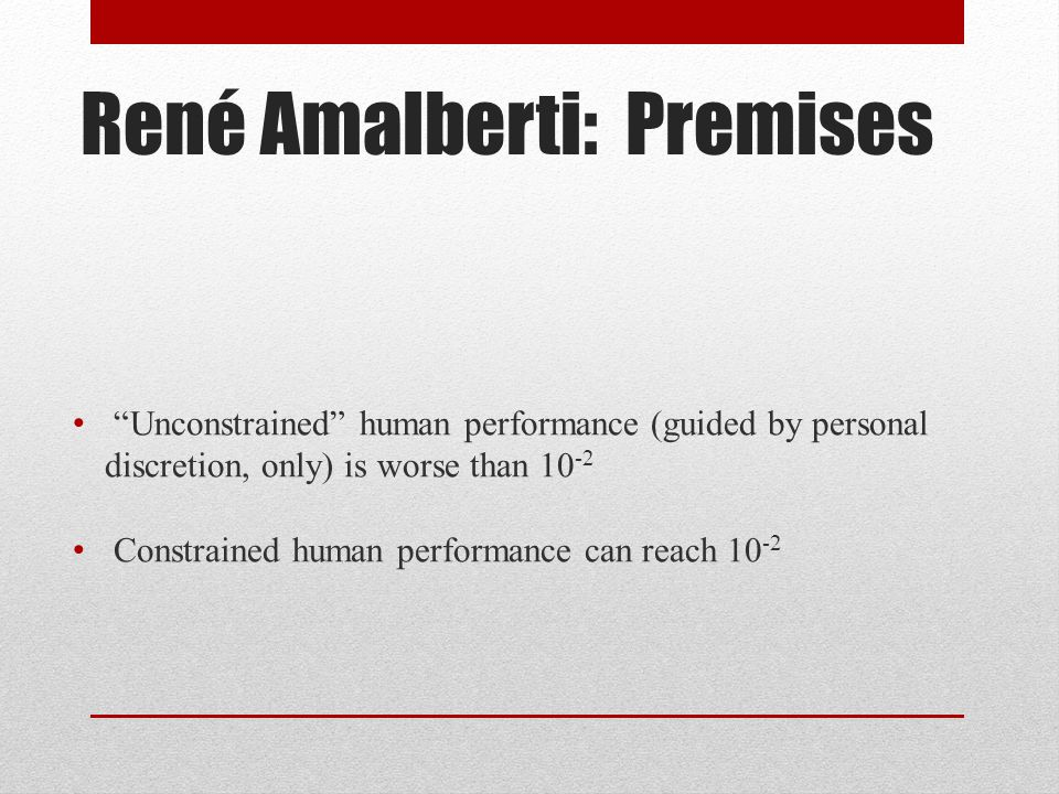 René Amalberti: Premises