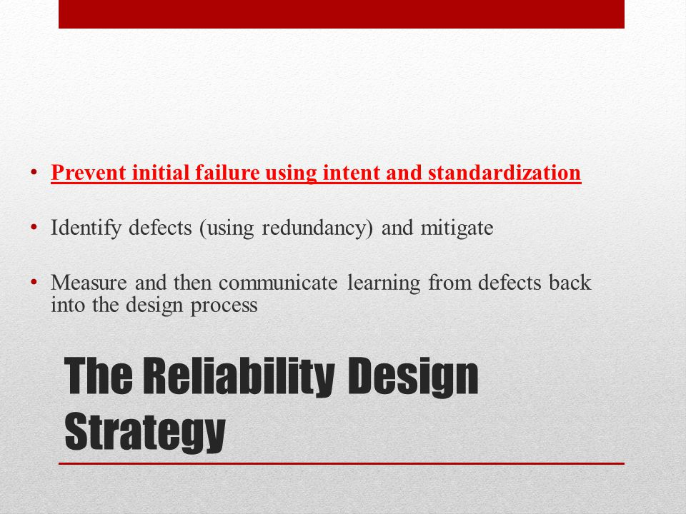 The Reliability Design Strategy