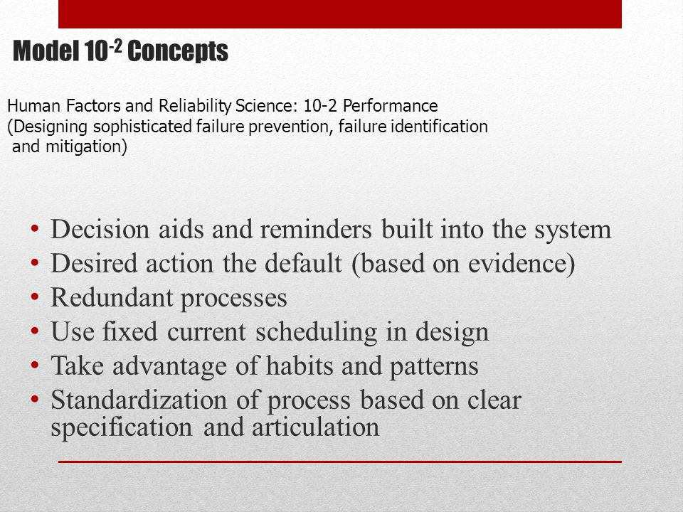 Model 10-2 Concepts Decision aids and reminders built into the system