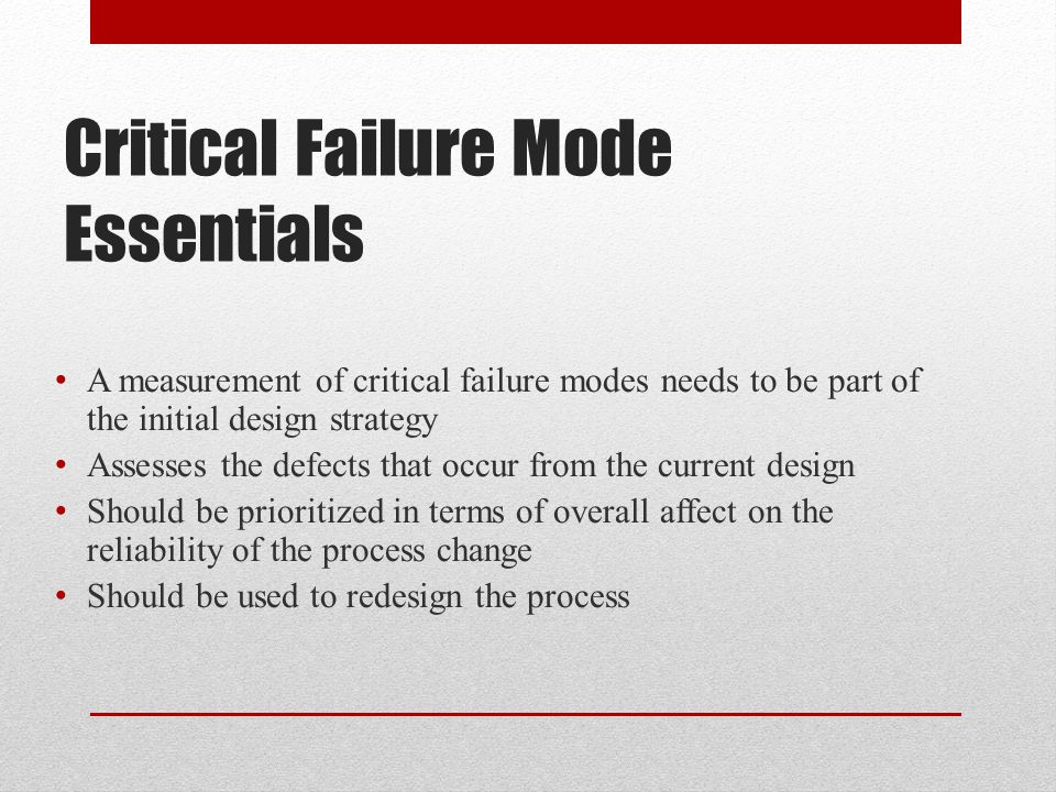 Critical Failure Mode Essentials