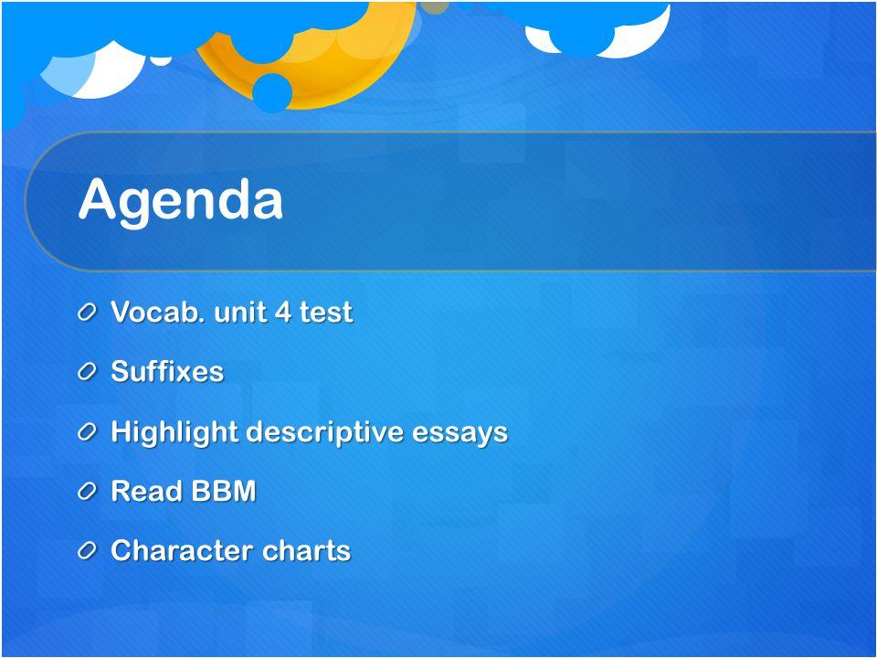 Agenda Vocab. unit 4 test Suffixes Highlight descriptive essays