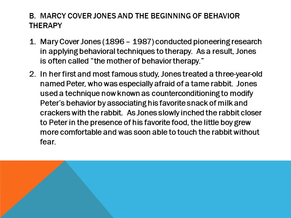 B. Marcy Cover Jones and the Beginning of Behavior Therapy