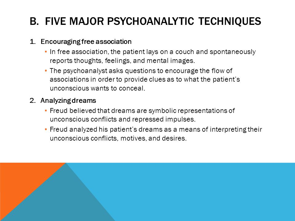 B. Five Major Psychoanalytic Techniques