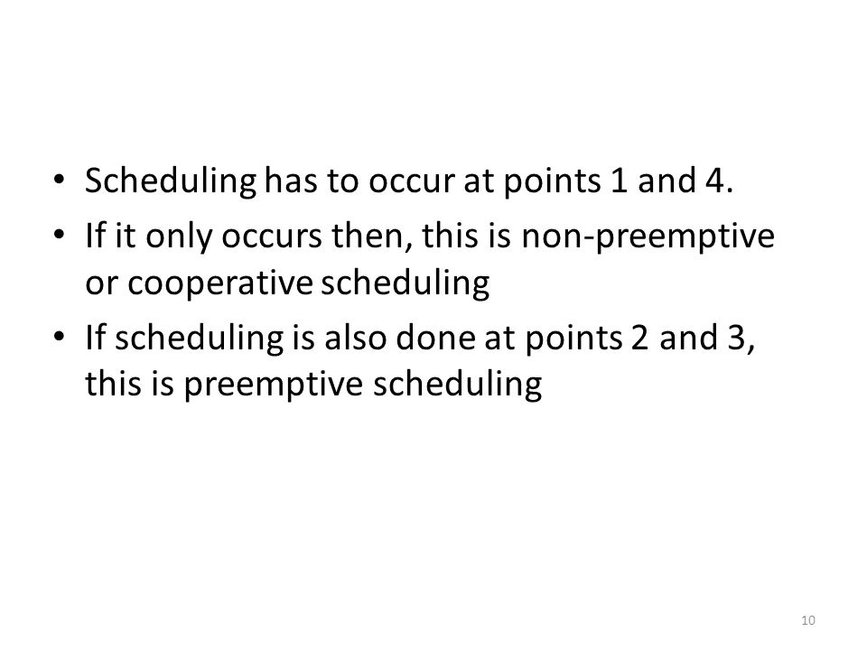 Scheduling has to occur at points 1 and 4.