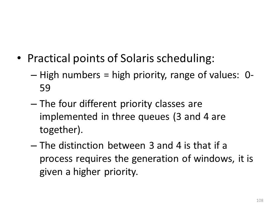Practical points of Solaris scheduling: