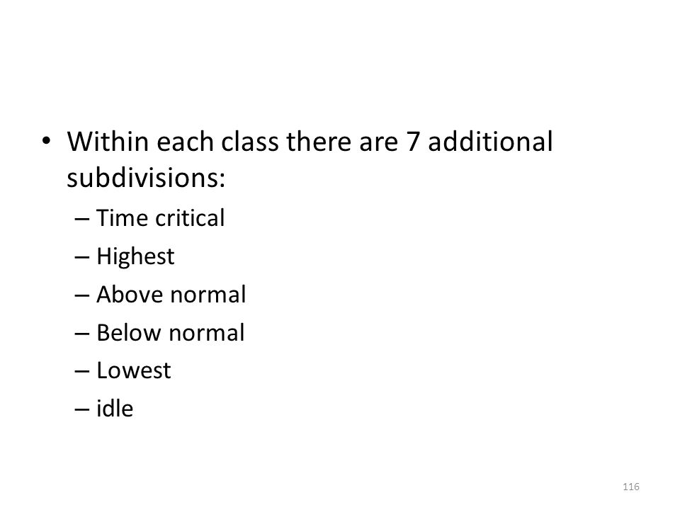 Within each class there are 7 additional subdivisions:
