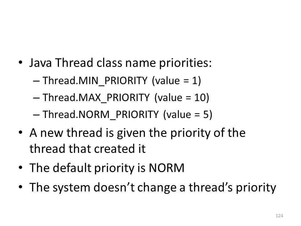 Java Thread class name priorities: