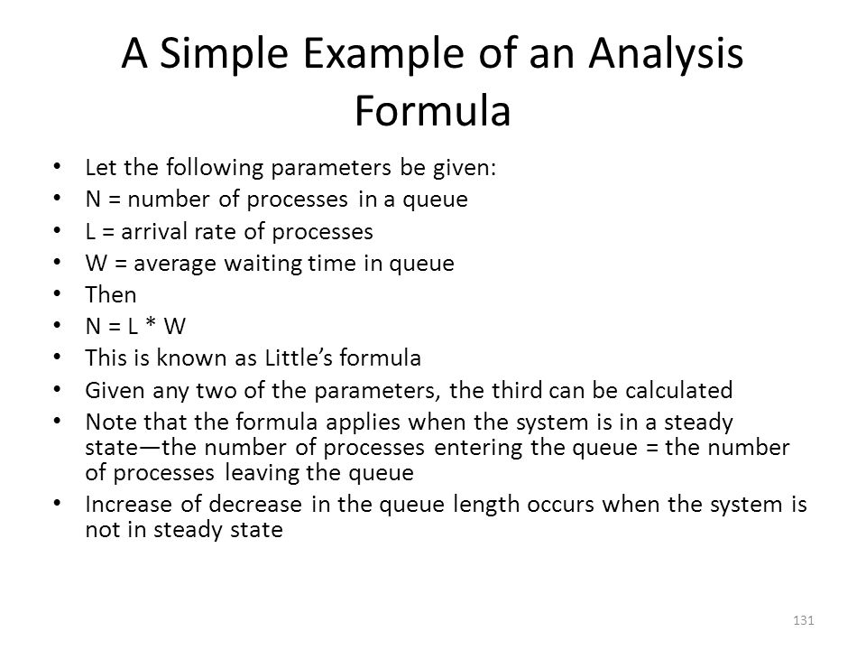A Simple Example of an Analysis Formula