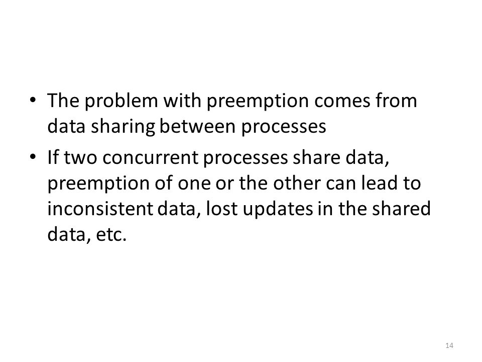 The problem with preemption comes from data sharing between processes