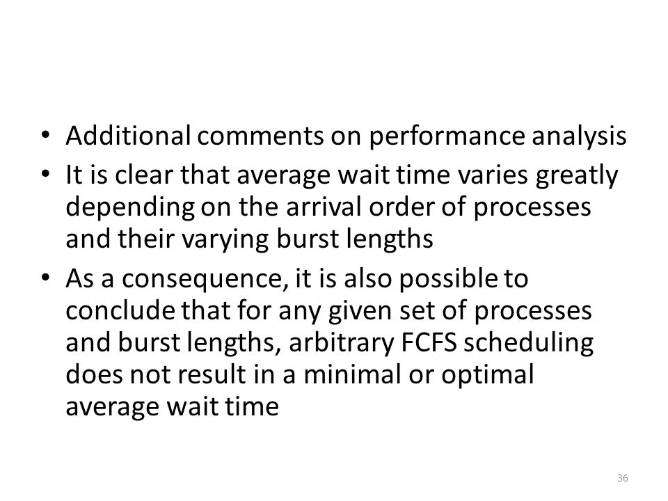 Additional comments on performance analysis